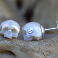 Carved Pearl Skull Stud Earrings with Sterling Silver Backs - Pearl Earrings - Skull Earrings - Halloween Earrings