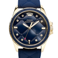 Juicy Couture Women's Stella Navy Quilted Silicone Strap Watch 40mm 1901099