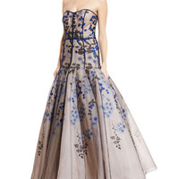 J. Mendel Strapless Floral-Embroidered Tulle Gown