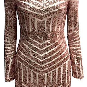 Fortunata Backless Long Sleeve Geo Sequin Dress - Gold