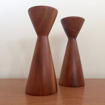 Vintage Danish Modern Turned Wood Candlestick Holders