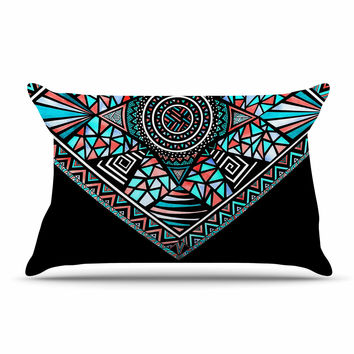 "Pom Graphic Design ""Geo Glass"" Teal Black Pillow Case"