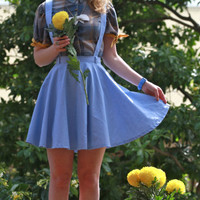 High waisted pale blue chambray denim suspender circle skirt