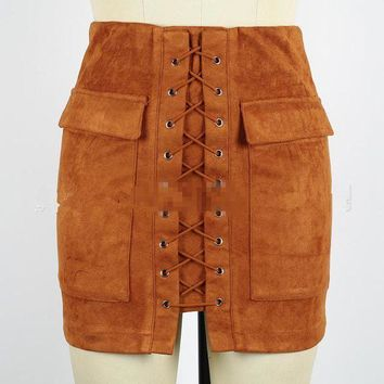 MDIGON1O Day First Brown Faux Suede Lace Up Front Pencil Mini Skirt
