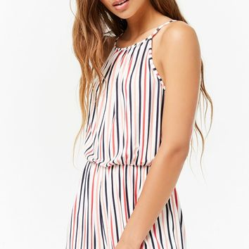 Striped High Neck Romper