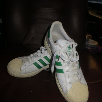 retro ADIDAS Originals white green stripes mens sneakers  sz  10 1/2
