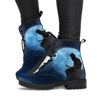Black Cat And Full Moon Women Boots