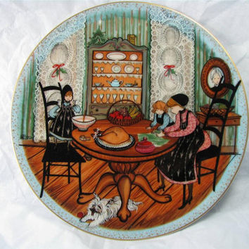 """Anna Perenna Buckley Moss """"HELPING HANDS"""" PORCELAIN Art Plate New! mib! Free Shipping!"""