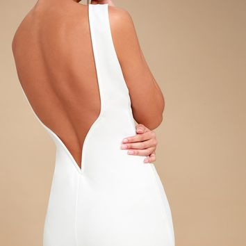 So Stunning White Backless Midi Dress
