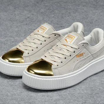 DCCKIJ2 Puma Rihanna Casual Suede Creeper Flatform Shoes Grey Golden