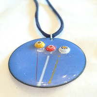 Enamel Necklace Blue Enamel Pendant Millefiori Jewellery Statement Jewellery Copper Jewellery