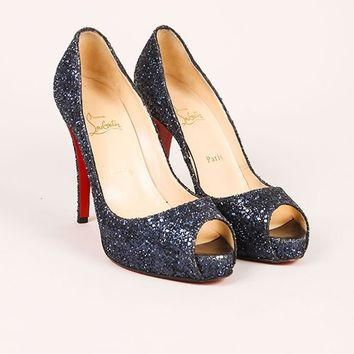 KUYOU Blue Glitter Peep Toe Pumps