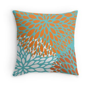 Orange and Turquoise Flower Decorative Throw Pillow Cover
