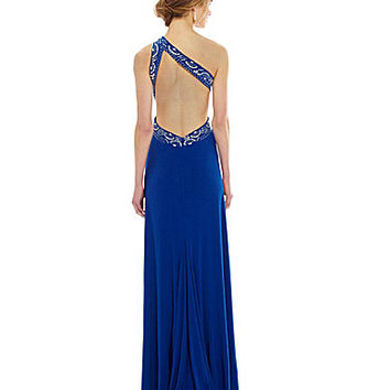 Blondie Nites One-Shoulder Beaded Gown | Dillards.com