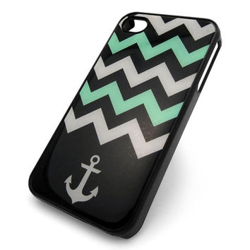 Gray Turquoise Anchor iPhone Case, Chevron Zig Zag iPhone 4 4S Case, Nautical Cute Plastic Snap On Cell Phone Cover