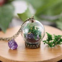 Amethyst Crystal Terrarium Necklace, with Glass Bulb and Raw Amethyst Crystal Pendant, Moss, and Antiqued Chain Necklace