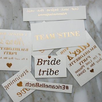 50 Personalized Metallic Gold Tattoos, Your Message, Metallic Tattoo, Team Sports Names