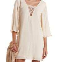 Embroidered Deep V Shift Dress by Charlotte Russe