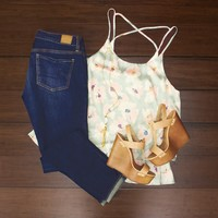 Watercolor Flowers Tank $34.00