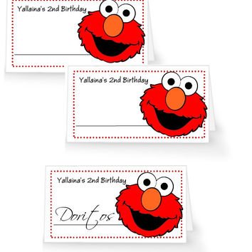 Elmo Birthday Party Table Tent Place Cards