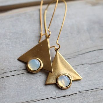 Geometric Triangle Opal Earrings  Vintage Gold by SilkPurseSowsEar