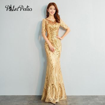 2018 New Elegant O-neck Half Sleeves Gold Sequined Mermaid Evening Dresses Long Plus Size Special Occasion Dresses
