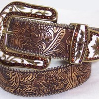 Crystal western buckle brown fashionable belt