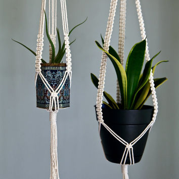 "Macrame Plant Hanger - 40"" Knotted - Natural White Cotton Rope - 3 Strand Indoor Hanging Planter - MADE TO ORDER"