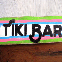 Tiki bar sign-Boho beach decor-Tropical decor-Tropical beach home decor-Hand painted driftwood sign-Tiki bar decor-Beach house decoration