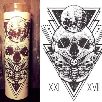 Skull Decor, Mystic, Deaths Head Moth, Silence of the lambs, Unique Gift, prayer candle, Gift Idea, Gifts for Him, Best Scented Candles,