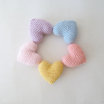 Amigurumi Crochet Hearts in Pastel Colors (Set of 5) - Cake topper - Wedding table decor - Birthday party decoration