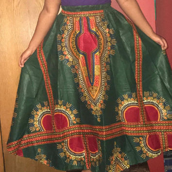 """NWOT African Long Dashiki Maxi /Pockets Ankara Elastic Waist One size fit MOST (Sz M-1X) with pockets/  African material""""/Green Red Skirt"""