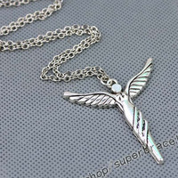 Angel cross necklace, cross necklace, Antique Silver necklace, fashion charm Jewelry, and express it in Personalized Jewelry