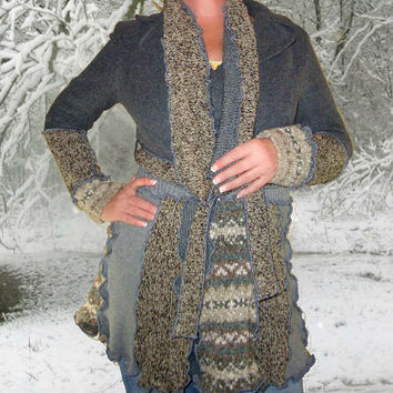 Upcycled Sweater Coat, Gray Sweater Coat, OOAK Sweater Coat, Handmade Coat, Upcycled Clothing, Boho Coat, Gray Womens Coat, Upcycled Sweater