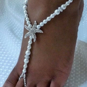 Pearl Barefoot Sandal White Foot Jewelry Beach Wedding Barefoot Sandle Starfish Pearl Beach Wedding Jewelry Beaded Sandals