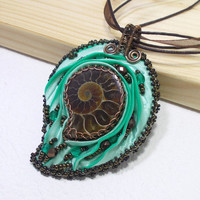 Mint Chocolate Ammonite Pendant Necklace, Copper Wire Wrapped Jewelry with Bead Embroidery and Shibory Silk, OOAK
