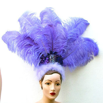 Purple Feather Showgirl Head Dress, Huge. Ostrich, Vegas Costume, Burlesque, Circus, Dance, Halloween