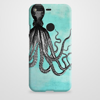 The Telepathic Octopus -- Black Octopus With Blue Background Google Pixel XL Case | casefantasy