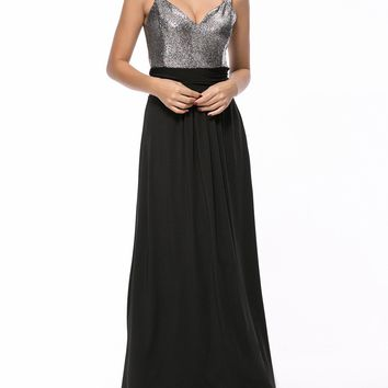 Streetstyle  Casual Sparkling Shimmering Powder Color Block Maxi Dress