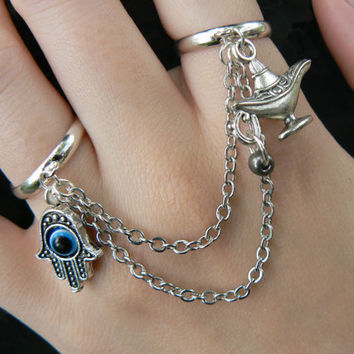 hamsa hand double ring hamsa hand genie lamp  charm double ring in fantasy hipster boho gypsy hippie and belly dancer style