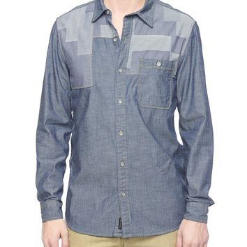 True Religion Patchwork Mens Shirt - Indigo