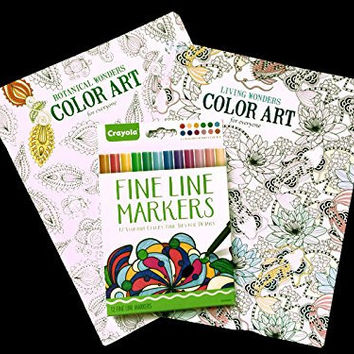 Adult Coloring Book: Stress Relieving Patterns - Living Wonders,botanical Wonders and Designs 2 Book Set with Colored Crayola Fine Line Markers Bundle
