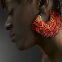 Exotic chunky colorful feather hoop earrings by donnaashley on Sense of Fashion