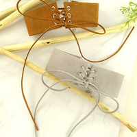 Women Fashion Jewelry Retro Vintage 90's Suede Lace Up Choker Casual Clubwear