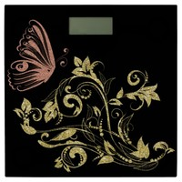 golden flowers,with pink butterfly, art bathroom scale