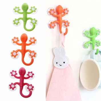 Powerful Plastic Four Suction Cups Hook Gecko Wall Hanger Decoration Bathroom