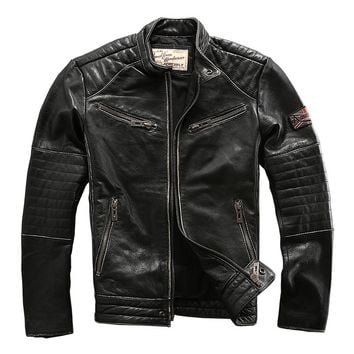 Cowhide motorcycle rider jacket genuine cow leather clothing male leather rider outerwear