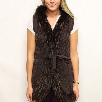 Linda Richards Fur Trim Cable Vest