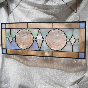 Pink Depression Glass Stained Glass Panel 1930s Jeannette Cherry Blossom Window Valance