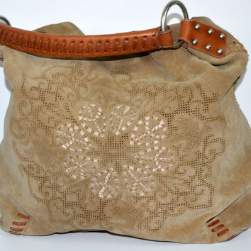 Lucky Brand Large Hobo Purse Suede with Thick Leather Handle